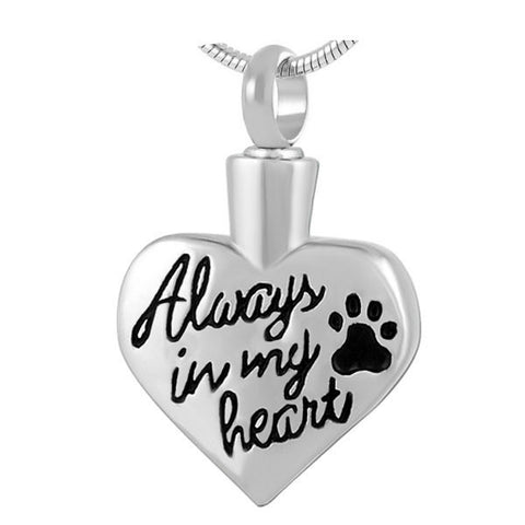 Silver Heart with Paw Print