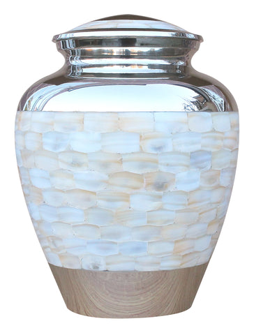 mother of pearl silver large cremation urn for ashes , large urn for adult ashes , remation urn for ashes , urn for ashes , container for ashes, ashes storage jar, human ashes container, large urn , british urn, adult ashes urn, cremation urn for human ashes, funeral memorial burial remembrance URN, affordable price urn, metal urn, blue urn, free delivery urn, quick delivery urn