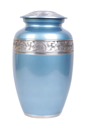 aluminium urn free delivery fast delivery blue urn, blue cremation urn
