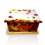 autumn leaves wooden casket, wooden urn, wooden casket , extra large urn, ashes urn, free delivery urn, best price urn, affordable price urn, best quality urn