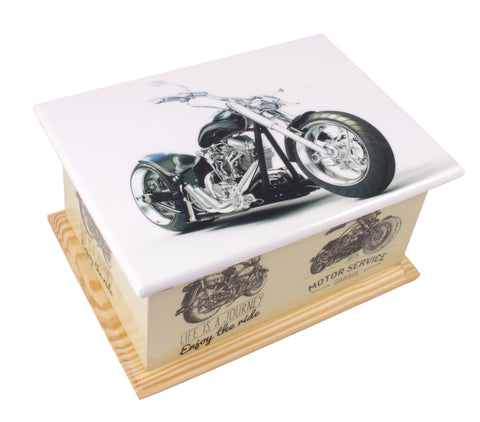 Motorbike urn, motor bike wood casket , wood urn, casket urn, ashes container, human ashes , wood casket urn, cremation urn for ashes , container for ashes, ashes container, large wood casket urn , British urn, adult ashes urn, cremation urn for human ashes, funeral memorial burial remembrance URN
