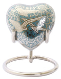 blue flying birds heart keepsake urn going home heart keepsake token urn small urn keepsake mini urn for sharing ashes