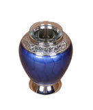 blue tealight urn, blue urn, small blue urn, candle urn, small tea light urn, small candle urn, tea light cremation ashes urn, candle cremation ashes urn