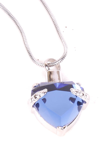 Blue Crystal Heart Pendant , cremation jewellery keepsake, ashes jewellery, pendant for ashes