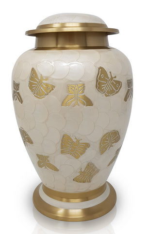 Pearl Butterfly Cremation Urn large pearl white cremation urn for adult ashes