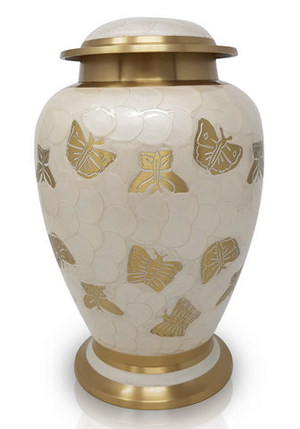 Pearl butterfly double cremation urn, white ashes urn for 2 people , extra large urn, companion urn, dual capacity urn, double capacity urn, urn for 2 adults, horse urn, urn for very large pet animal, free delivery urn, quick delivery urn, best quality urn, affordable price urn, cheap price urn