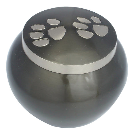 Pet ashes urn, round pet urn , paw print, dog cat ashes container large