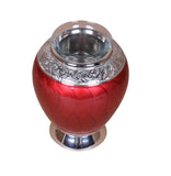 red tealight urn, red urn, small redurn, candle urn, small tea light urn, small candle urn, tea light cremation ashes urn, candle cremation ashes urn