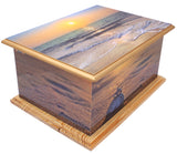 wood casket urn, wood urn for ashes, mdf casket ashes urn, sunset casket urn, beech ashes urn, seaside ashes urn, sunset urn for ashes, beech sunset cremation urn for ashes