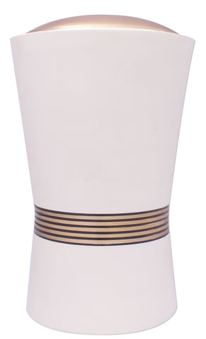 Brass off white cremation urn, cream cremation urn, discreet looking ashes urn, decorative cremation urn, cremation urn extra large size white large urn adult urn for ashes