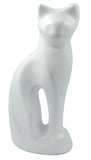 white cat cremation urn for ashes , pet memorial , white cat urn, pet urn