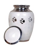 white pet ashes urn, pet memorial, dog cat urn, cremation urn for ashes , urn for ashes , container for ashes, ashes storage jar, human ashes container, large urn , british urn, adult ashes urn, cremation urn for human ashes, funeral memorial burial remembrance URN, affordable price urn, metal urn, blue urn, free delivery urn, quick delivery urn