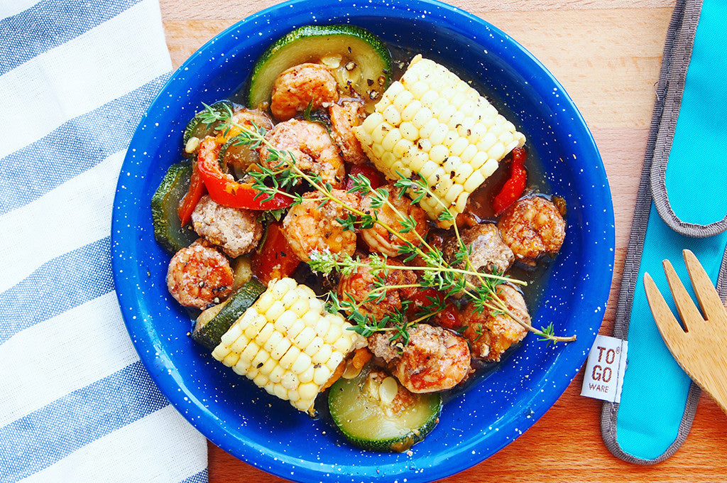 Camp Dinner: Cajun Shrimp with Sausage, Corn, and Summer Vegetables