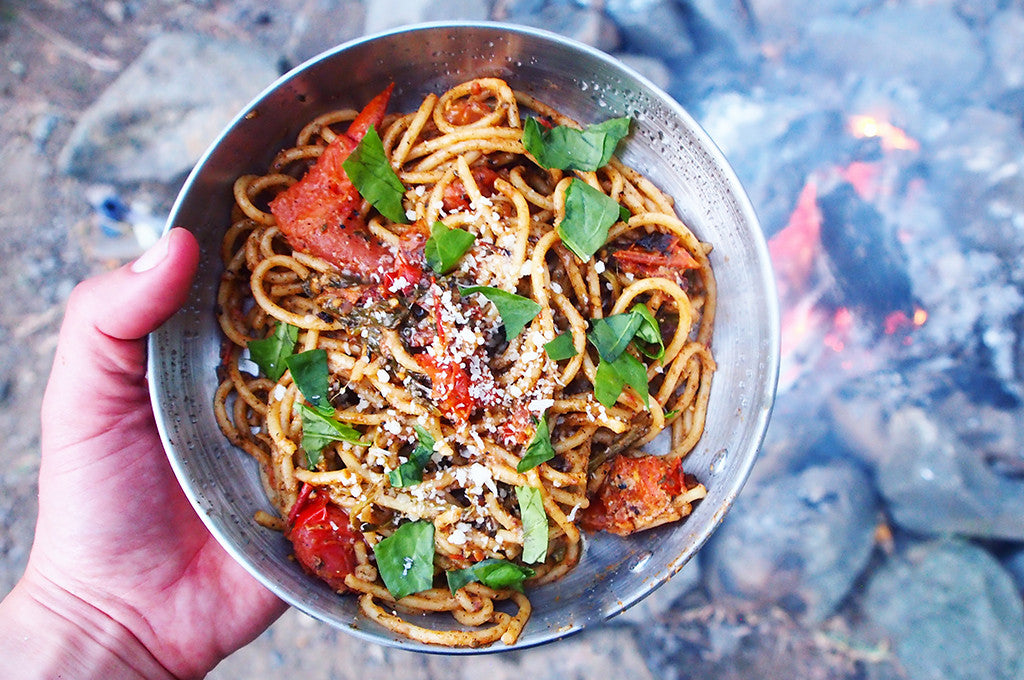 Camp Dinner: Sweetwater Spaghetti with Burst Tomatoes and Sorrel