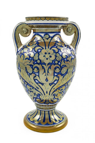 LUSTRE MAJOLICA VASE with floral design in a