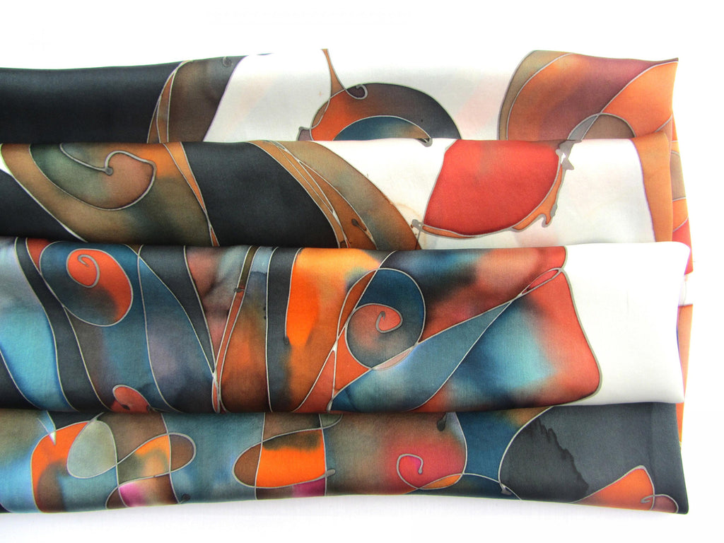Elegant painting on crêpe satin foulard