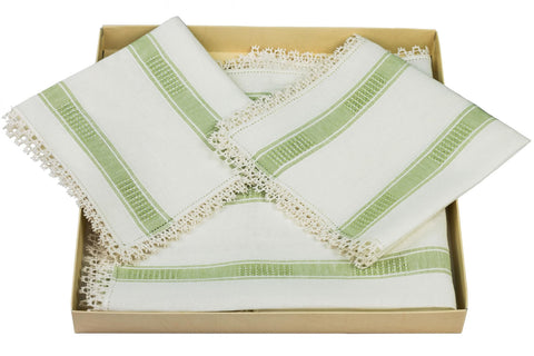 Set Americana type 300 Classic 1/2q ecru and gree 2 underplates and 2 napkins