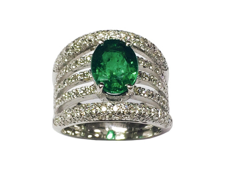 Handcrafted Emerald Trail Ring with diamonds