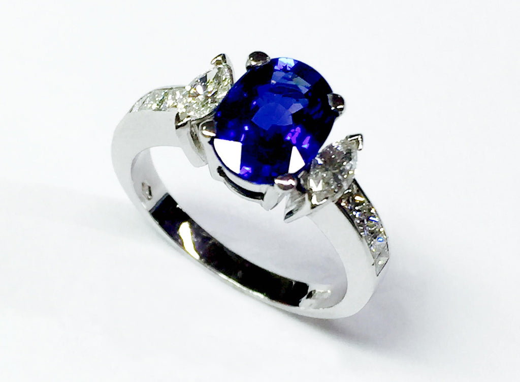 Handcrafted Marquise Blue Sapphire and diamonds ring