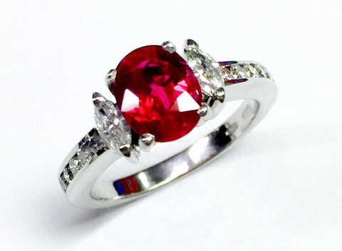 Handcrafted Marquise Ruby RIng with diamonds
