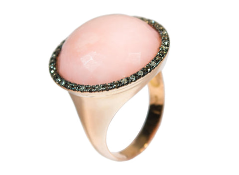 Dream Ring Handcrafted Carved natural Pink with Diamonds
