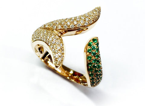 Embrace Ring - Handcrafted with diamonds and natural round emerald