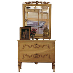 Art.735+736 Opale chest of drawers with wooden decorations and mirror