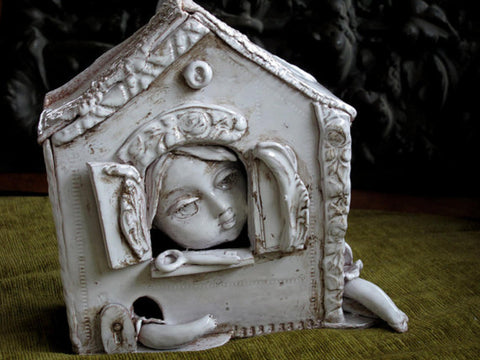 Alice in wonderland, ceramic sculpture, art pottery