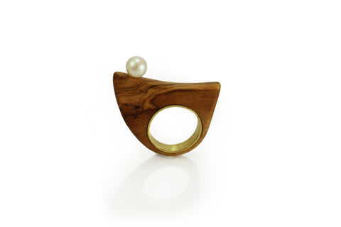 Ring Olive wood and pearl 2