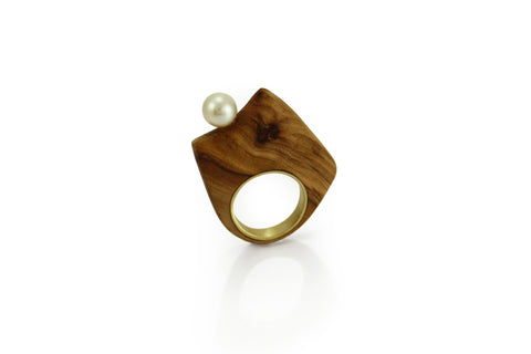 Ring Olive wood and pearl 3