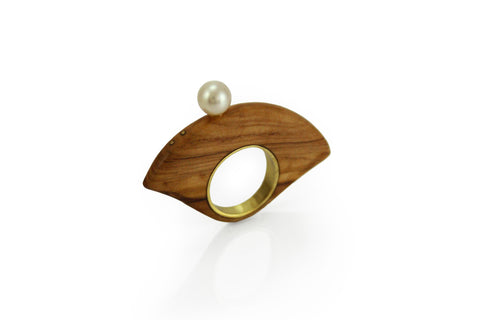 Ring Olive wood and pearl 4