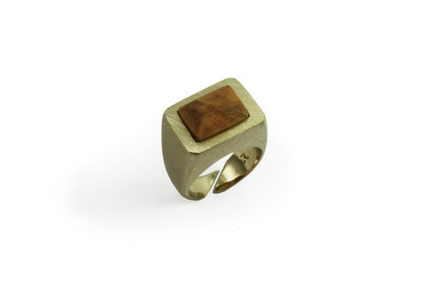 Seal ring Olive wood rectangular