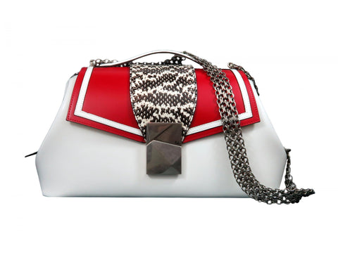 Large Top Handle Bag in White Calf and Natural Snake - Large Cheek Sailor