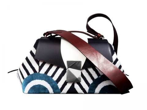 Large Top Handle Bag in Graphic Velvet and Leather - Large Cheeky Sailor