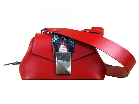 Medium Shoulder Bag in Red Calf and Snake Skin - Medium Cheek Sailor