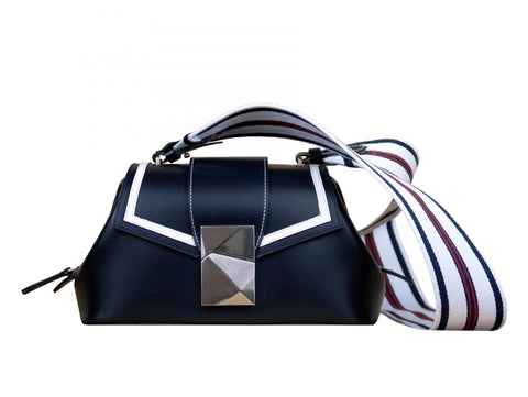 Medium Shoulder Bag in Midnight Blue Calf - Medium Cheek Sailor