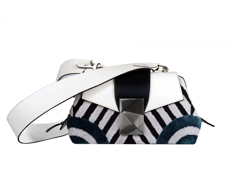 Medium Shoulder Bag in Jacquard Velvet and Calf - Medium Cheeky Sailor