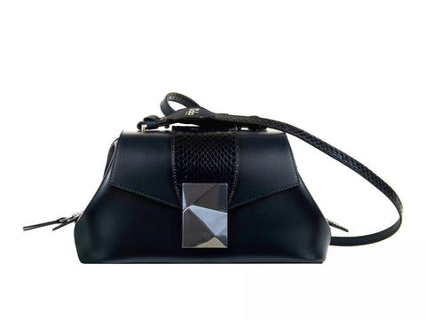 Medium Shoulder Bag in Midnight Blue Calf and Snake Skin