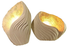 Hand-sculpted limestone table lamps - Madrepora Collection Set of two