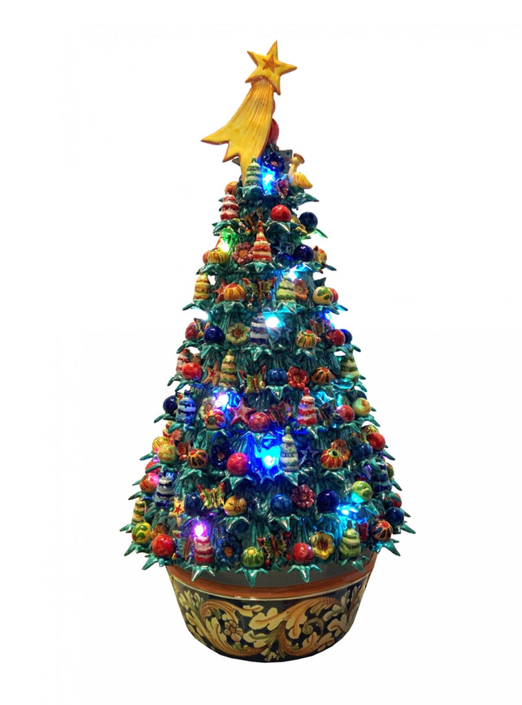 Ceramic Christmas tree with led lights h 56 cm