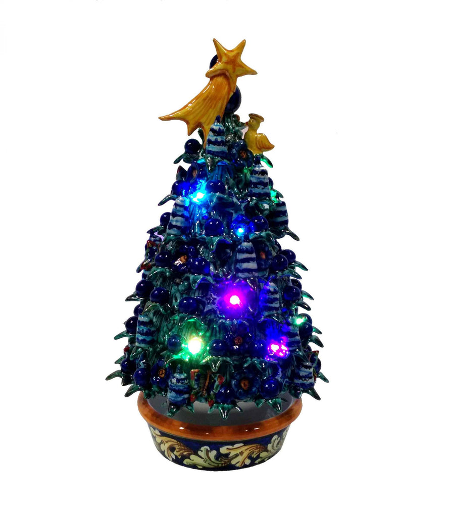 Ceramic Christmas tree with led lights h 30 cm