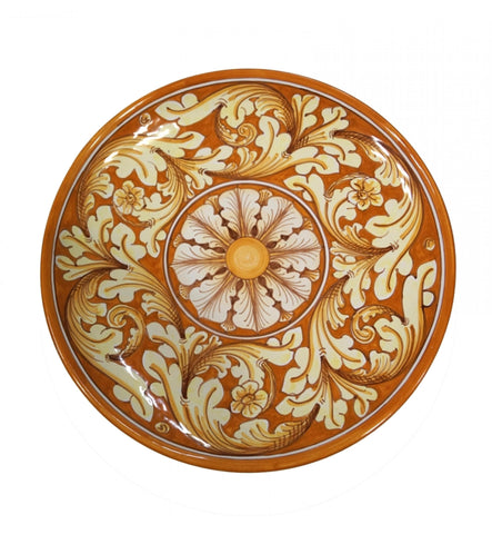 Dishes ornate yellow and orange diameter 36 cm