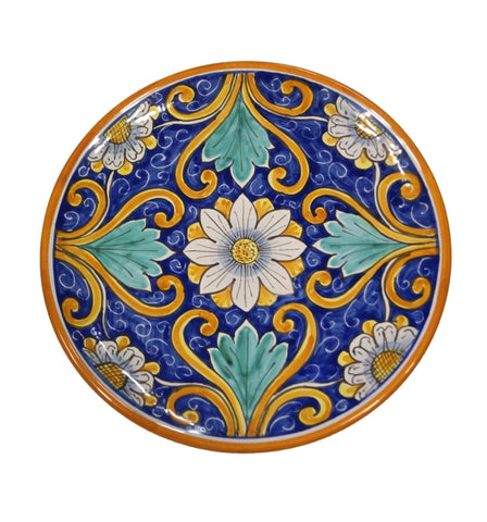 Dishes blue and flower decor diameter 45 cm