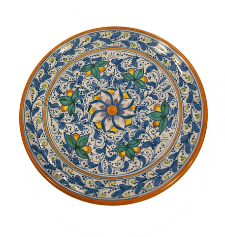 Dishes antique blue and green of 600' diameter 36 cm