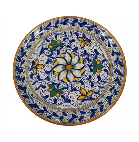 Dishes cobalt blue and yellow flower of 600' diameter 36 cm