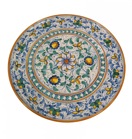 Dishes antique blue and green of 600' diameter 45 cm