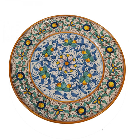 Dishes antique blue, green and brown of 600' diameter 45 cm