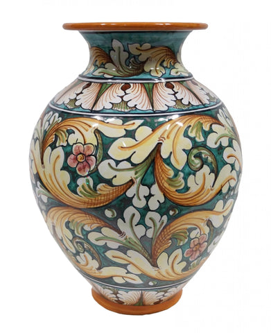 Vase with ornate green decor height cm 32