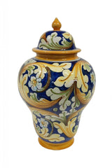 Vase with ornate blue decor height cm 36 with lid
