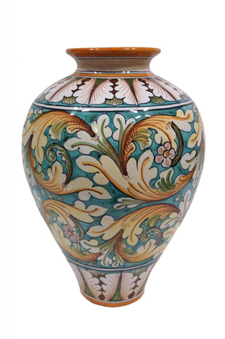 Vase with ornate green decor height cm 35